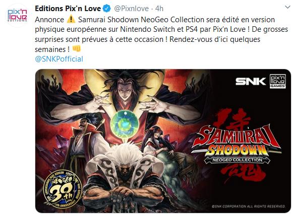 PIX'NLOVE éditera SAMURAI SHODOWN NEOGEO COLLECTION sur PS4 et Switch Captur66