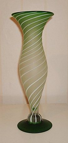 White striped green vase Pictur10