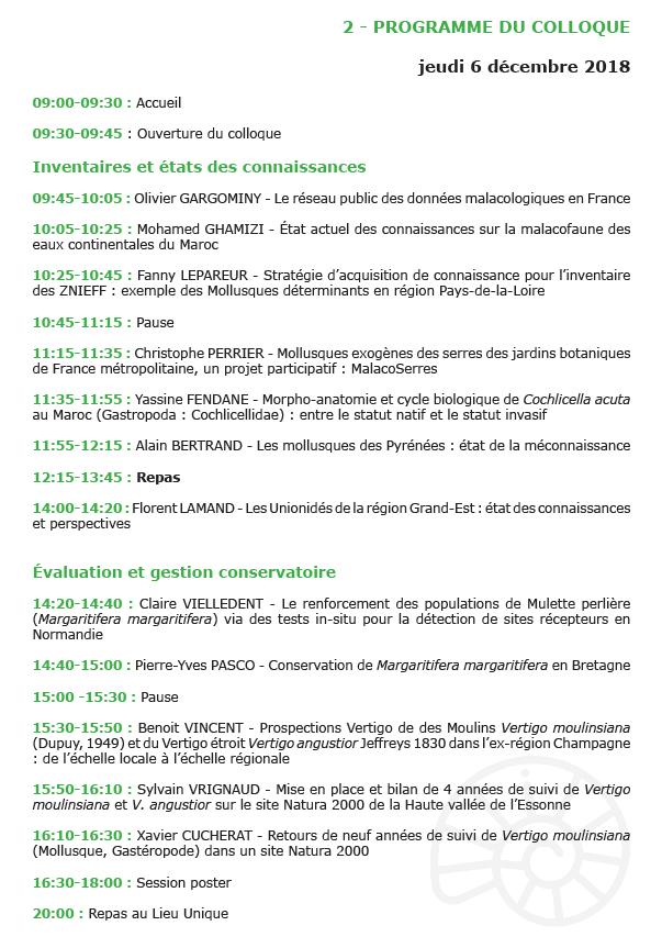 Colloque national de malacologie continentale : 6 & 7 Déc. 2018 au Muséum de Nantes Colloq10