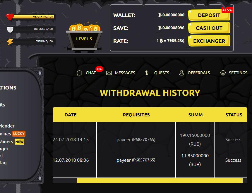 BitcoinMineGame - nowa gra BTC z niskimi min. kwotami wypłaty (BTC, RUB, USD) Bitcoi10