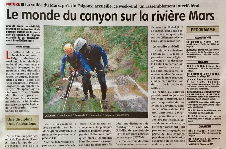 programme RIF CANYONING  VALLEE DU MARS Articl10