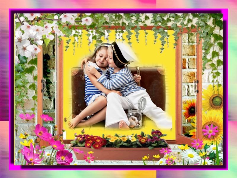 Cadre fenêtre, lierre, fleurs Sans_247