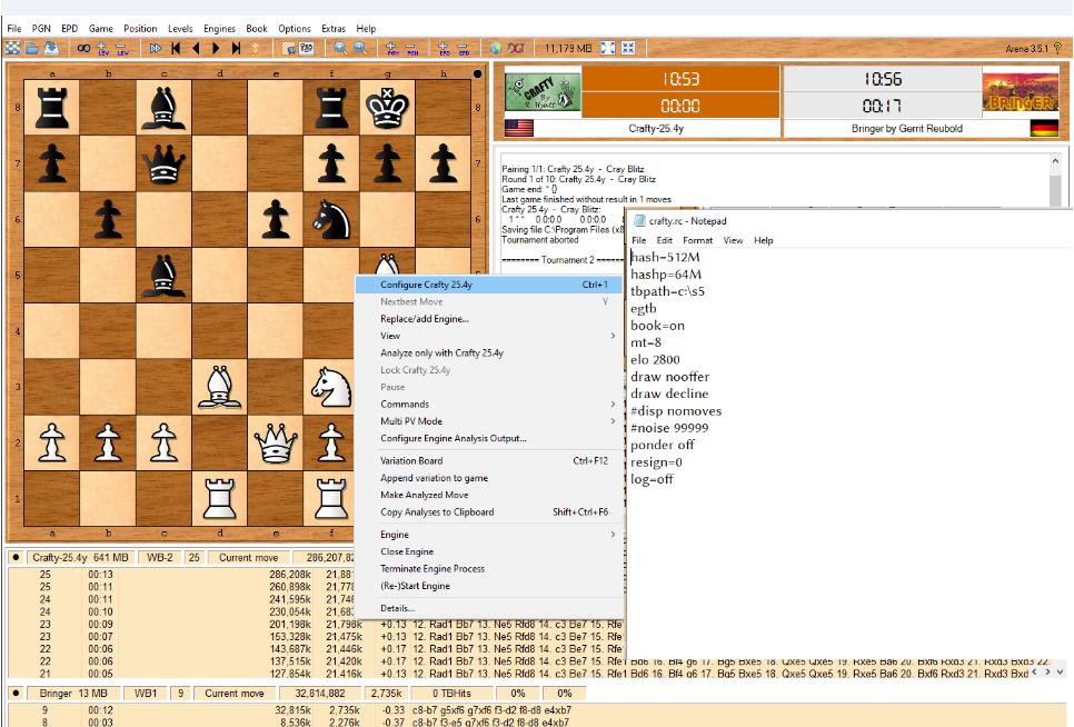 Configure Crafty 25.3 under Arena 3.5.1 GUI 888810