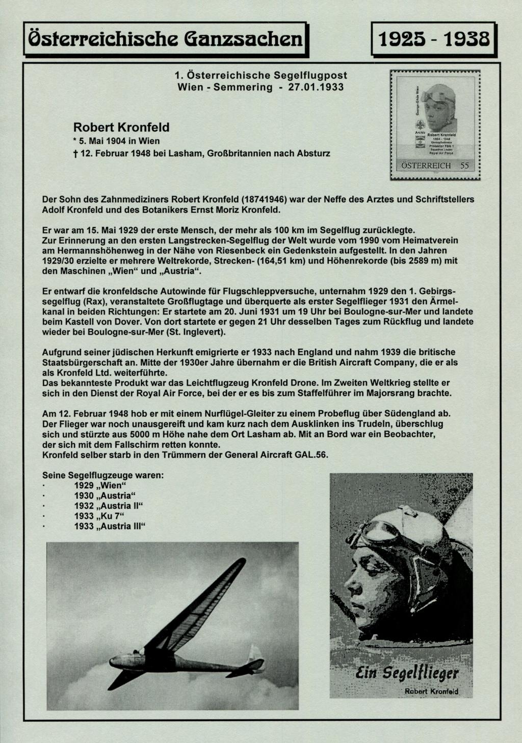 Ganzsachen - Segelflug Robert Kronfeld 1933 Kr_00010