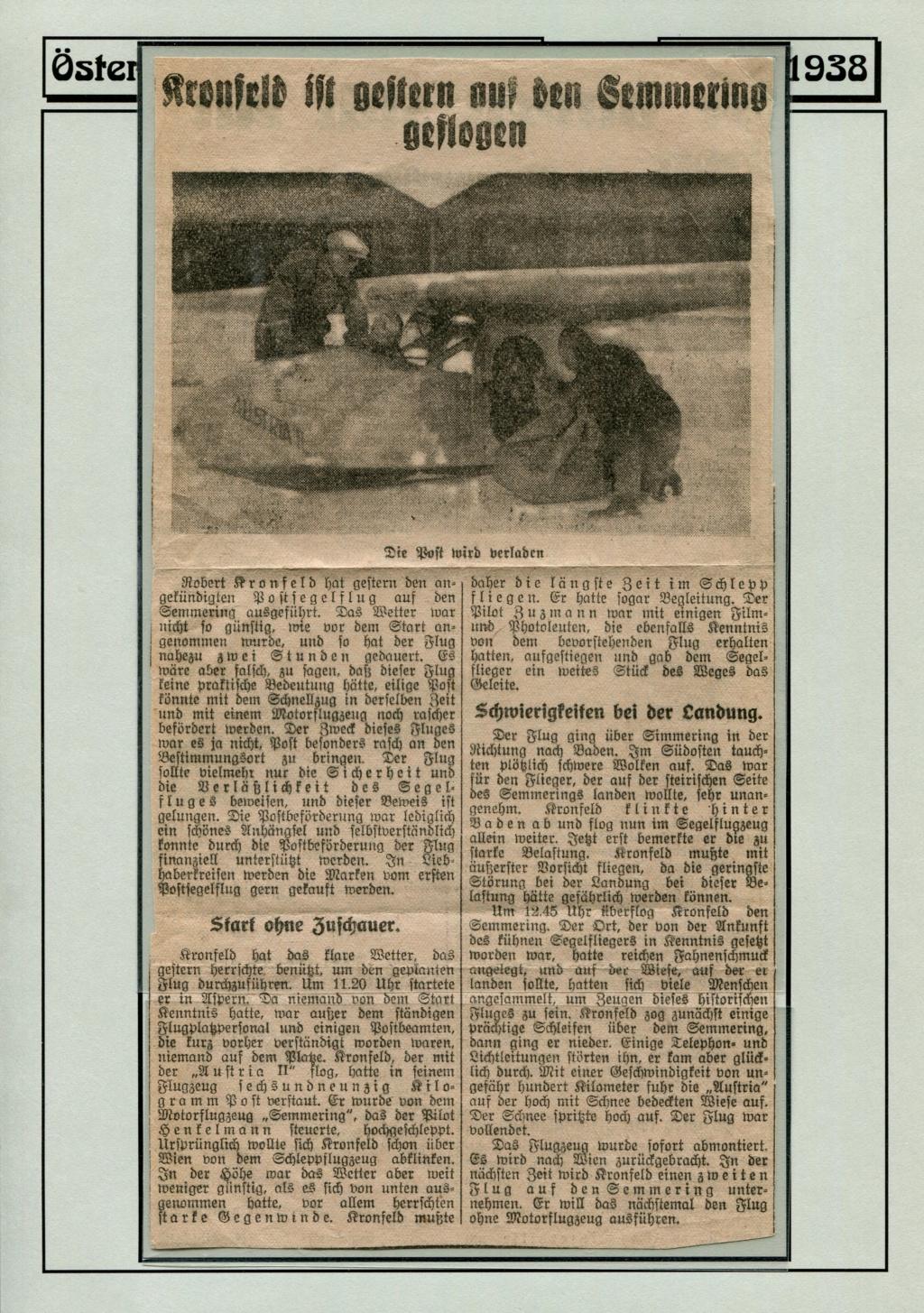 Ganzsachen - Segelflug Robert Kronfeld 1933 Kr_00011
