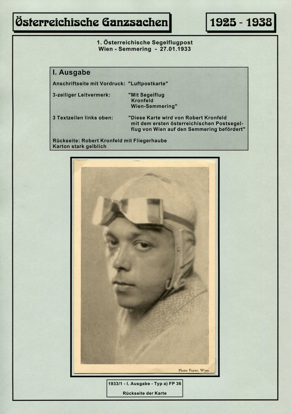 Ganzsachen - Segelflug Robert Kronfeld 1933 Kr_00013