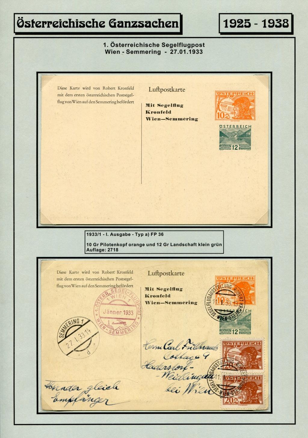 Ganzsachen - Segelflug Robert Kronfeld 1933 Kr_00014