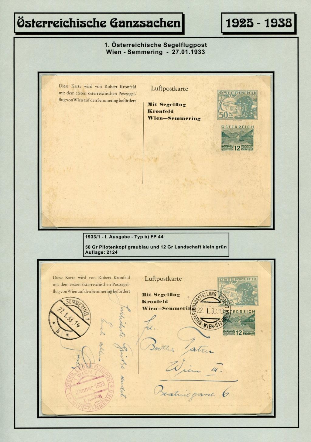 Ganzsachen - Segelflug Robert Kronfeld 1933 Kr_00015