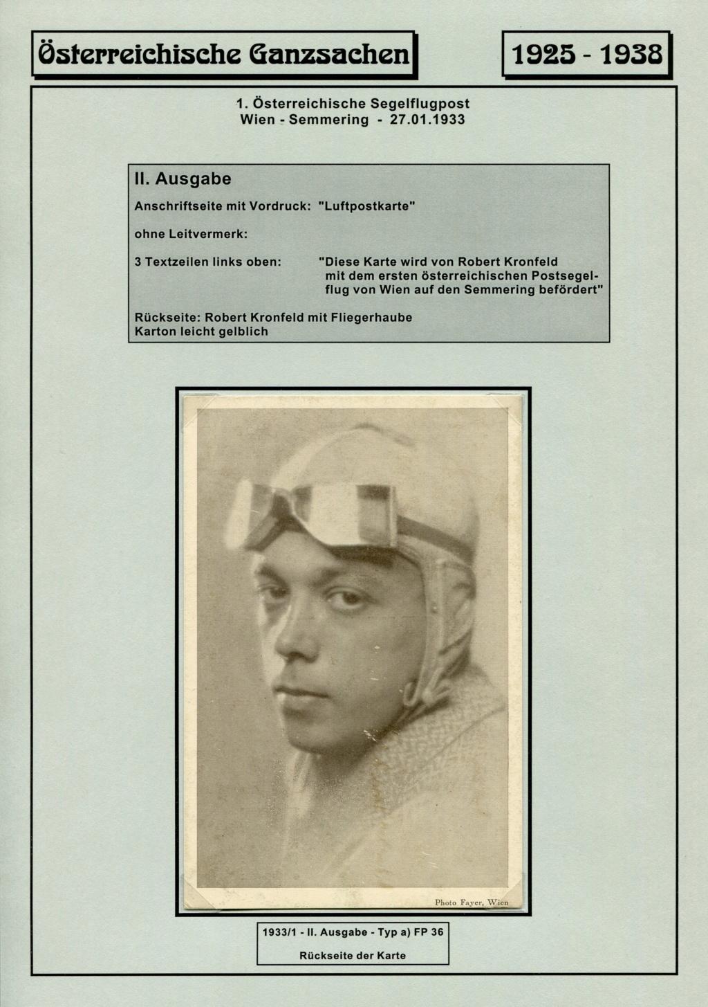 Ganzsachen - Segelflug Robert Kronfeld 1933 Kr_00016