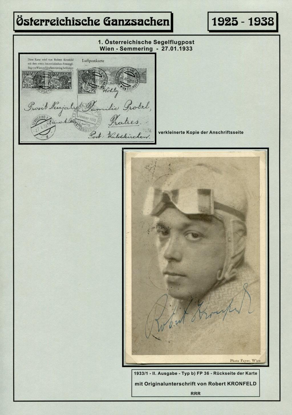 Ganzsachen - Segelflug Robert Kronfeld 1933 Kr_00017