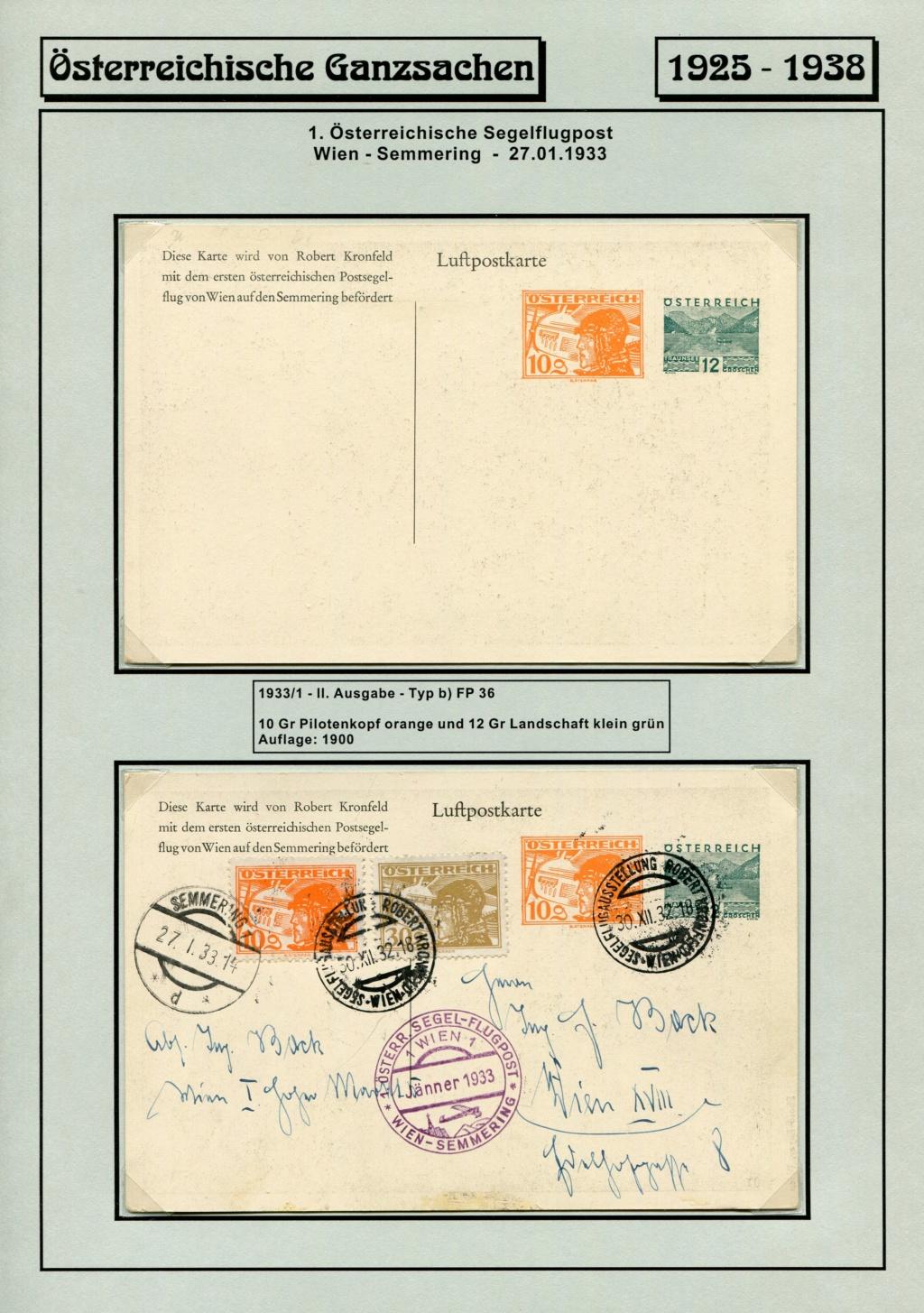 Ganzsachen - Segelflug Robert Kronfeld 1933 Kr_00110