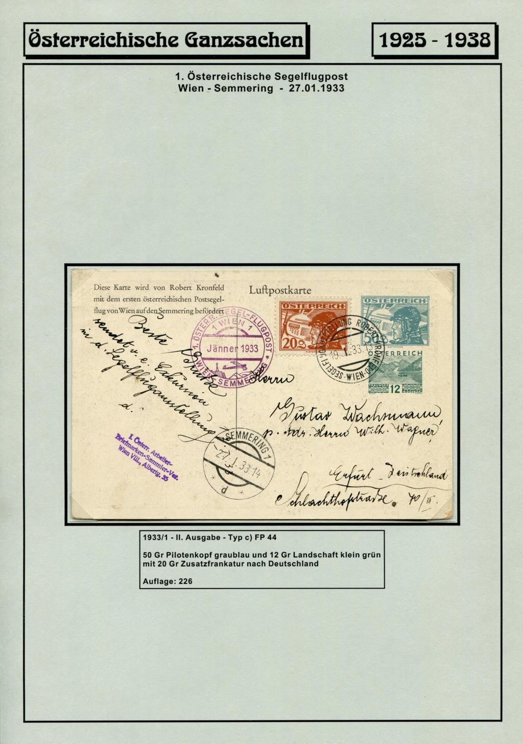 Ganzsachen - Segelflug Robert Kronfeld 1933 Kr_00111