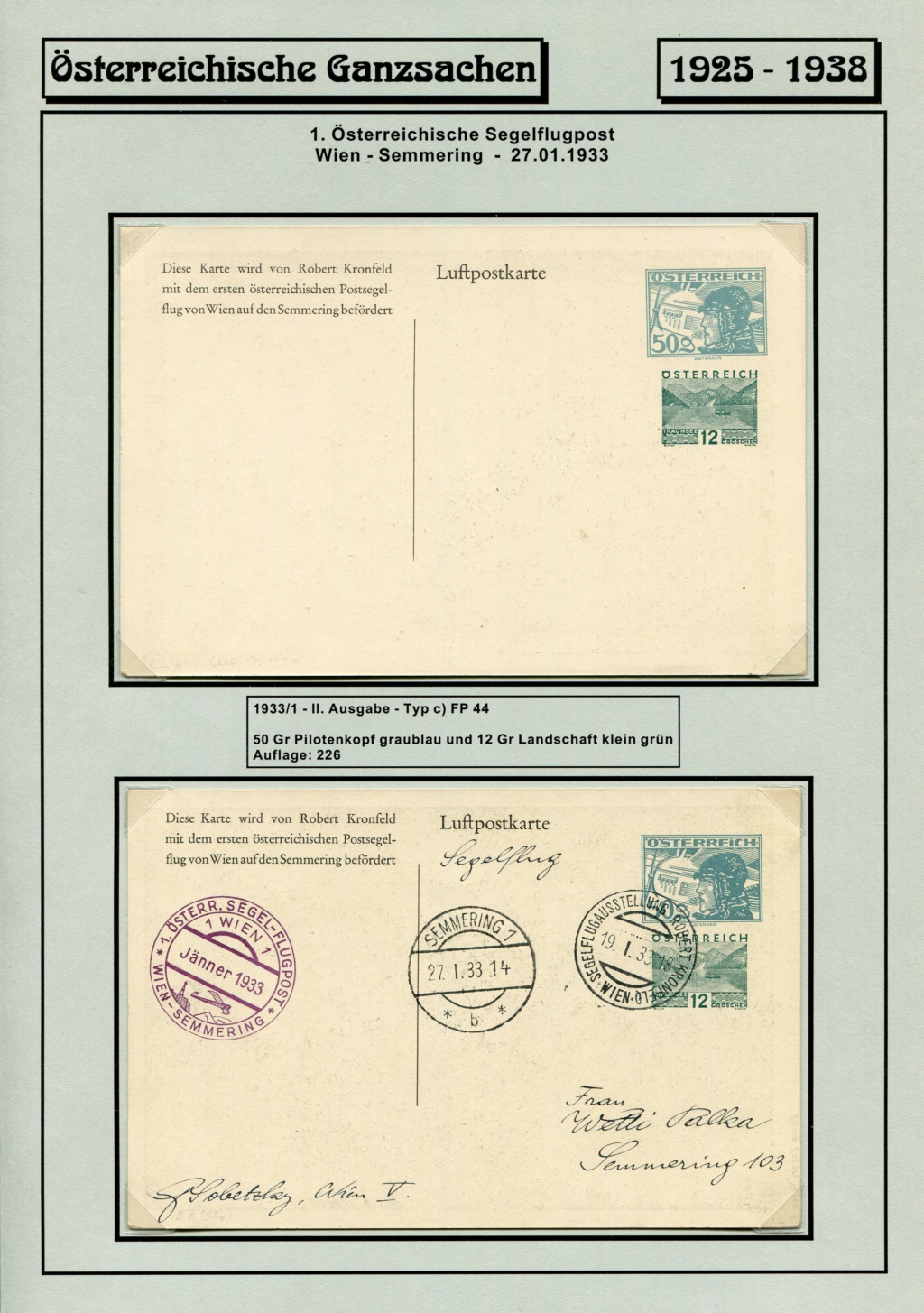 Ganzsachen - Segelflug Robert Kronfeld 1933 Kr_00112