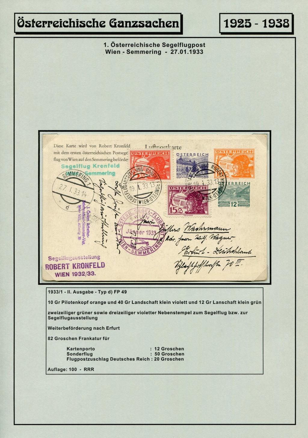 Ganzsachen - Segelflug Robert Kronfeld 1933 Kr_00114