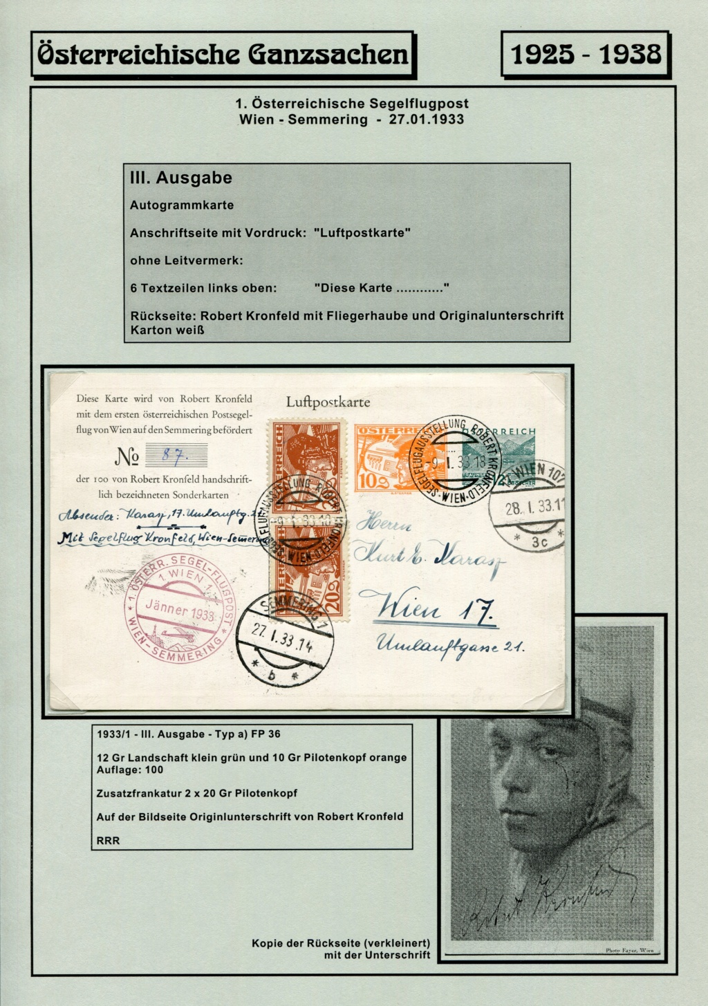 Ganzsachen - Segelflug Robert Kronfeld 1933 Kr_00115