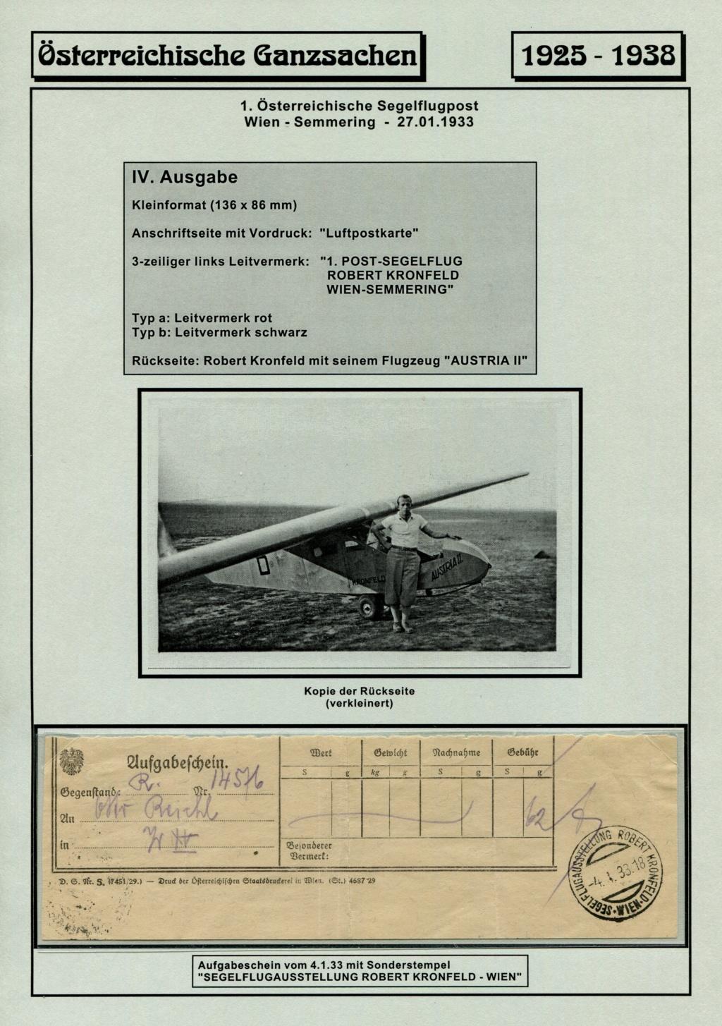 Ganzsachen - Segelflug Robert Kronfeld 1933 Kr_00116