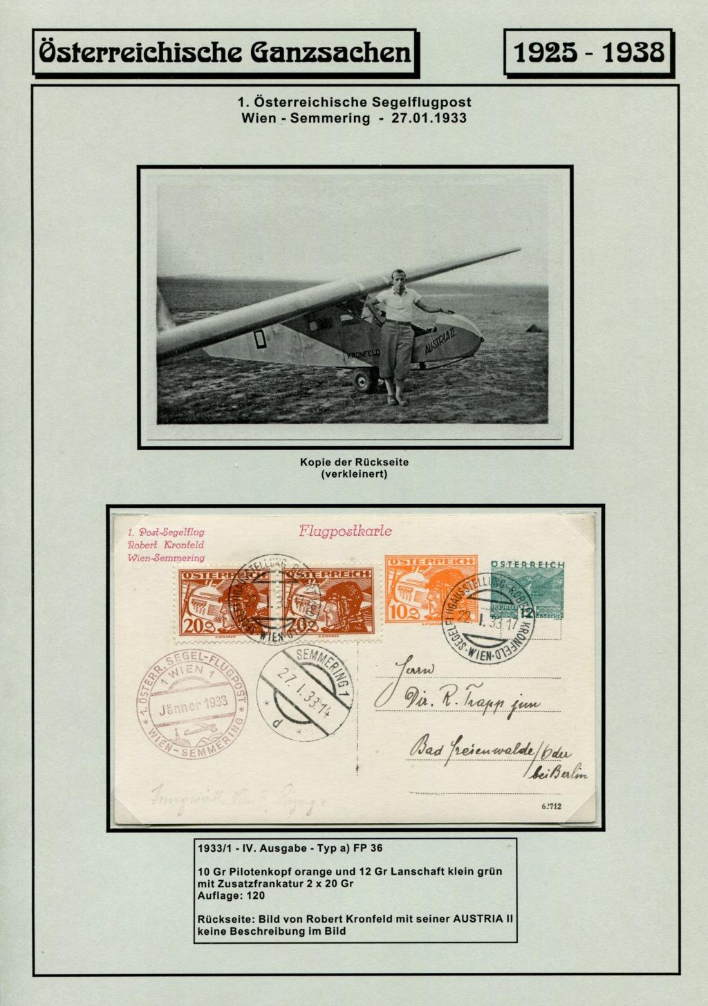 Ganzsachen - Segelflug Robert Kronfeld 1933 Kr_00117