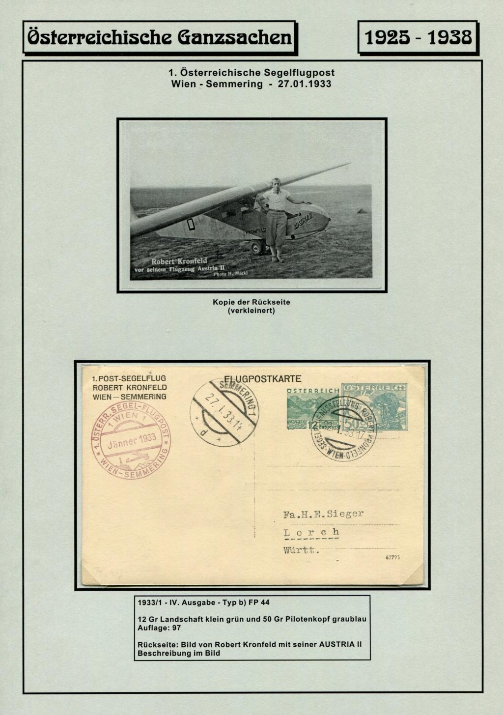 Ganzsachen - Segelflug Robert Kronfeld 1933 Kr_00118