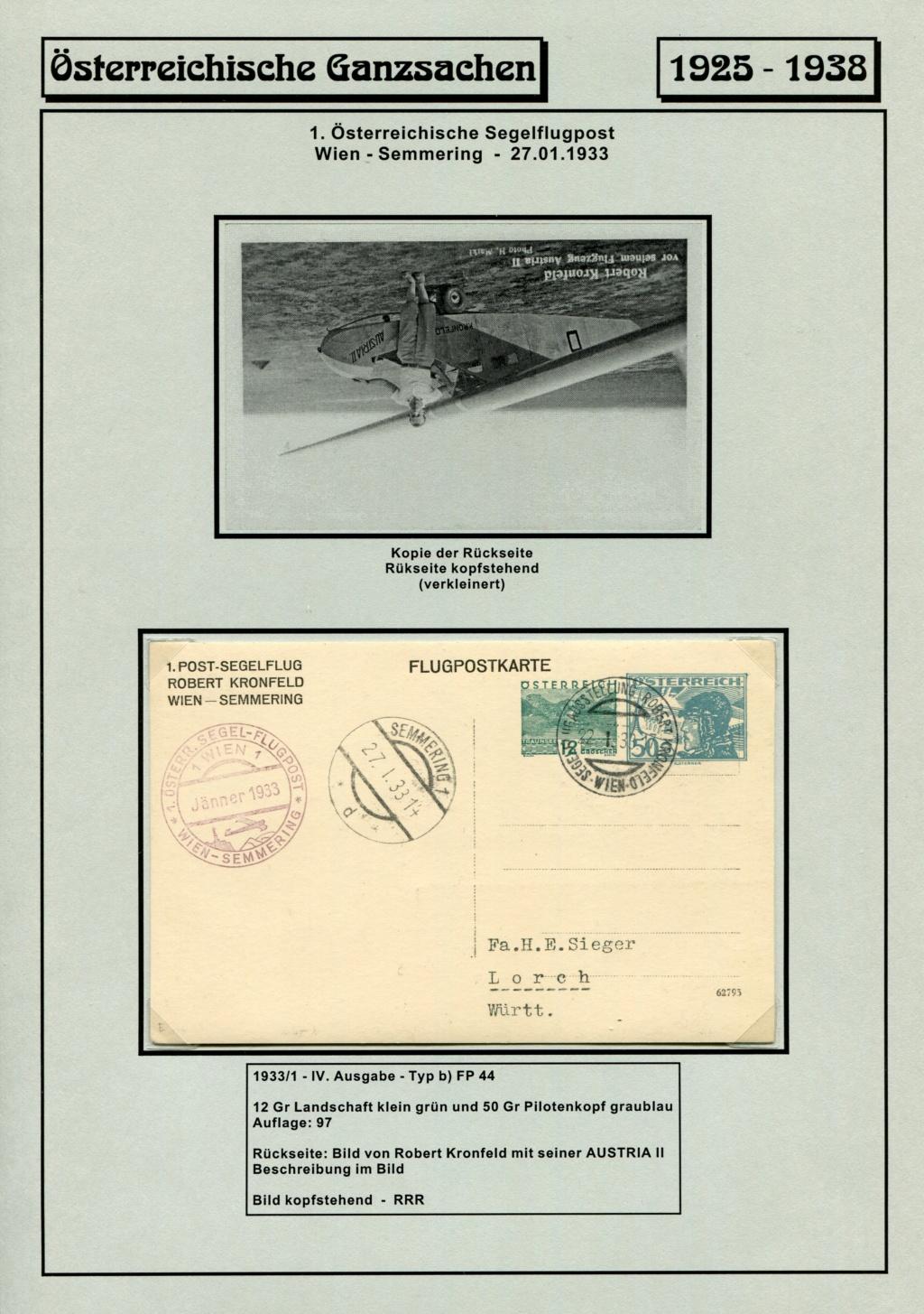 Ganzsachen - Segelflug Robert Kronfeld 1933 Kr_00119
