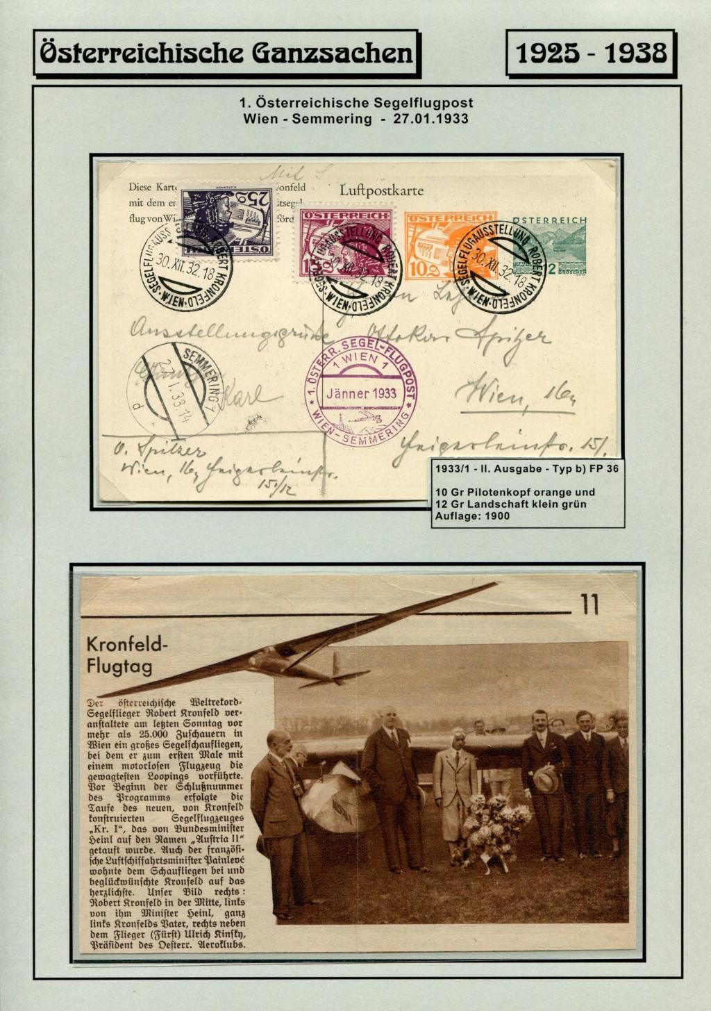 Ganzsachen - Segelflug Robert Kronfeld 1933 Kr_00211