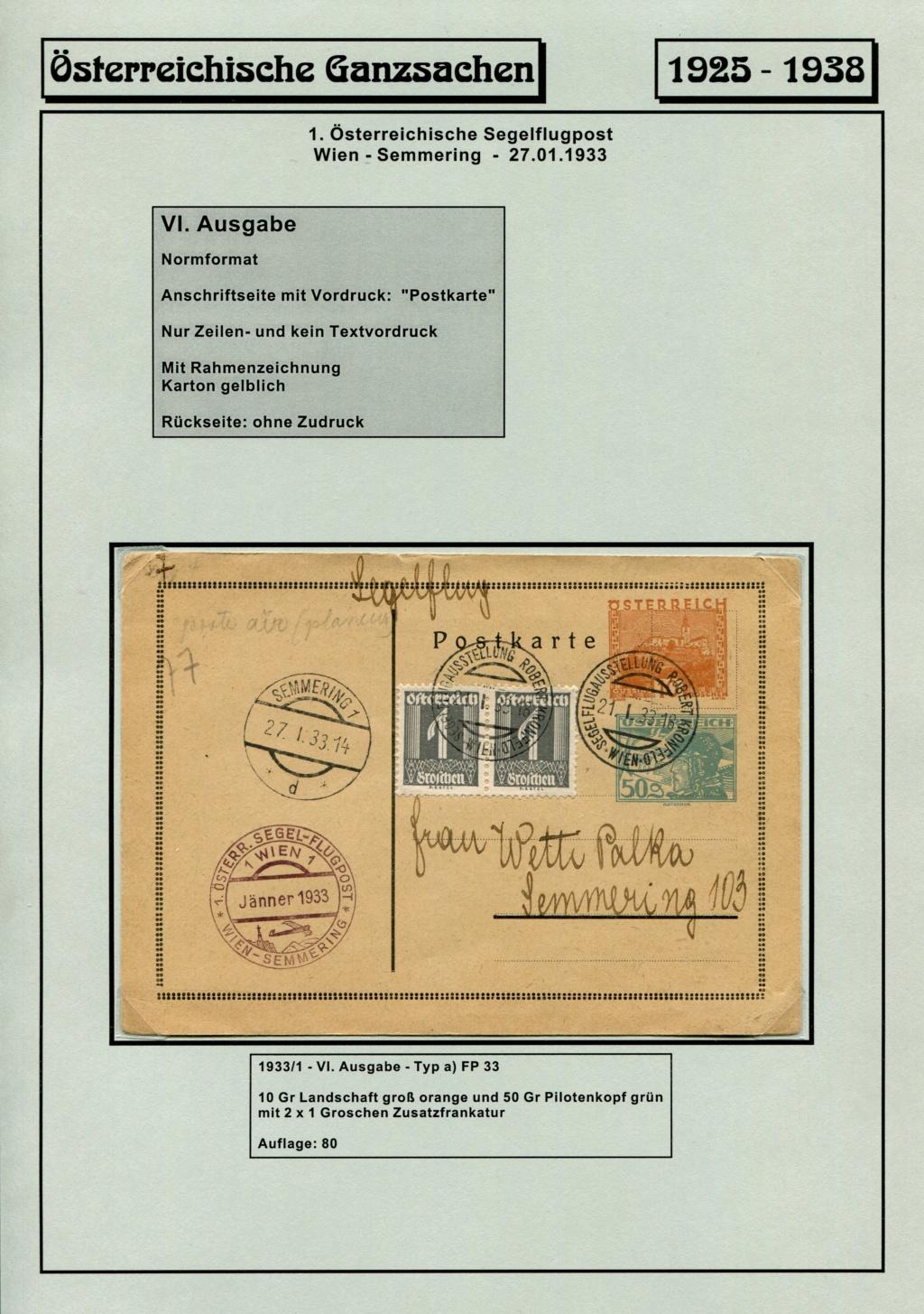 Ganzsachen - Segelflug Robert Kronfeld 1933 Kr_00212