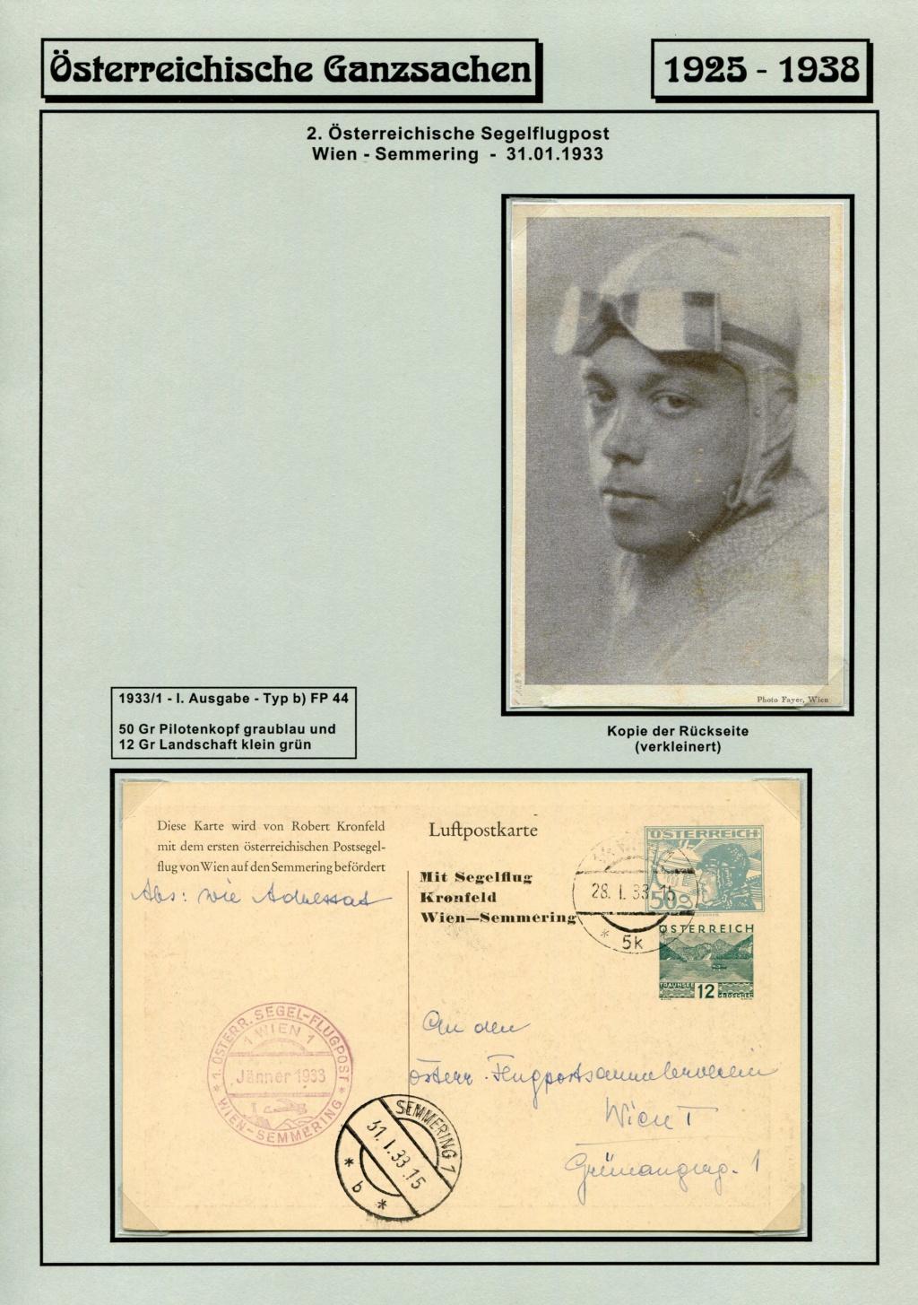Ganzsachen - Segelflug Robert Kronfeld 1933 Kr_00214