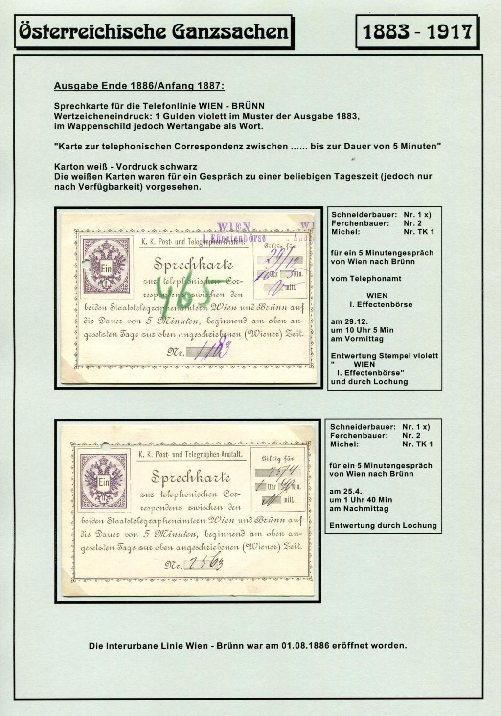 Österreichische Telephon-Sprechkarten - 1883 - 1917 Tel_ka17