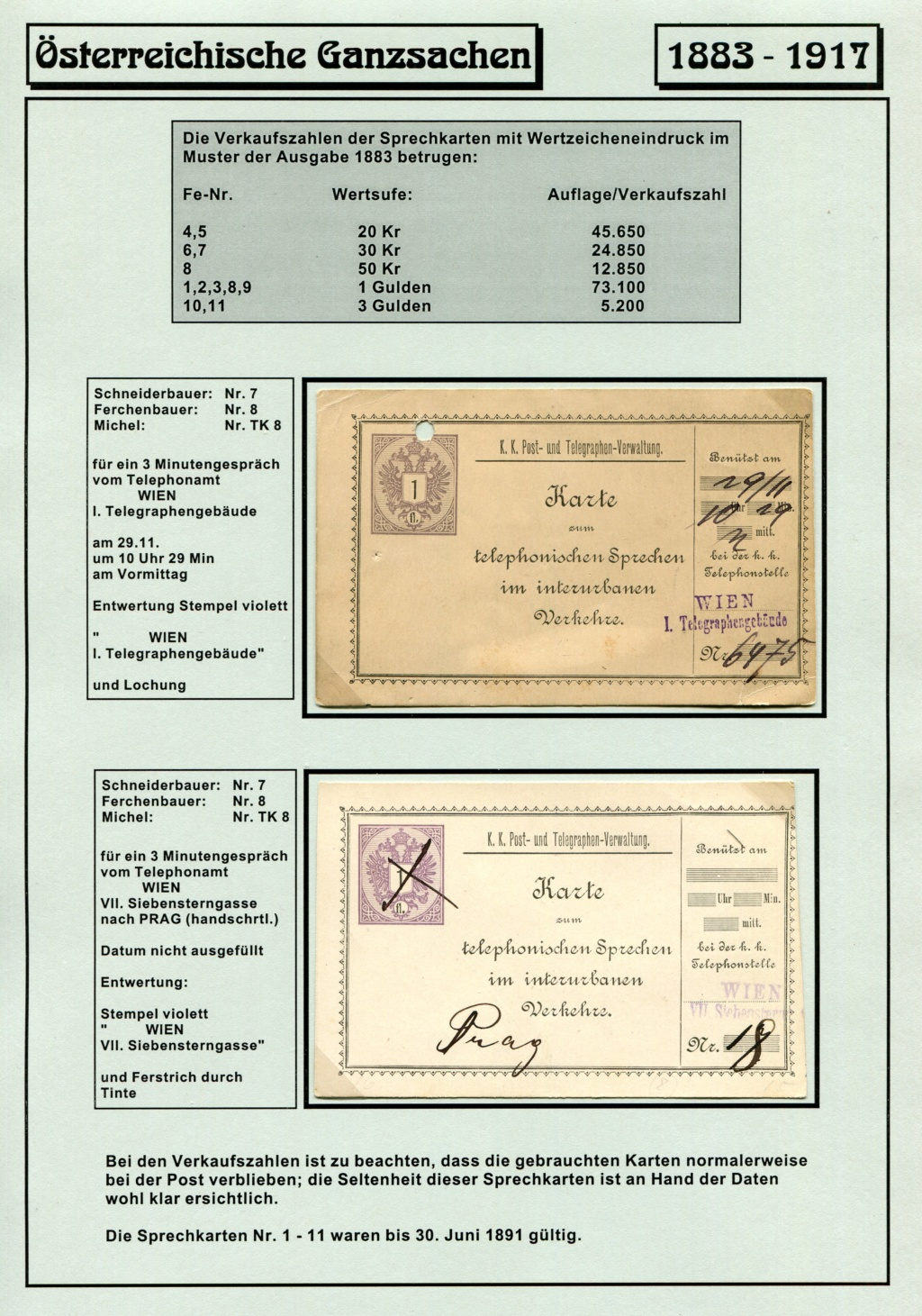 Österreichische Telephon-Sprechkarten - 1883 - 1917 Tel_ka26