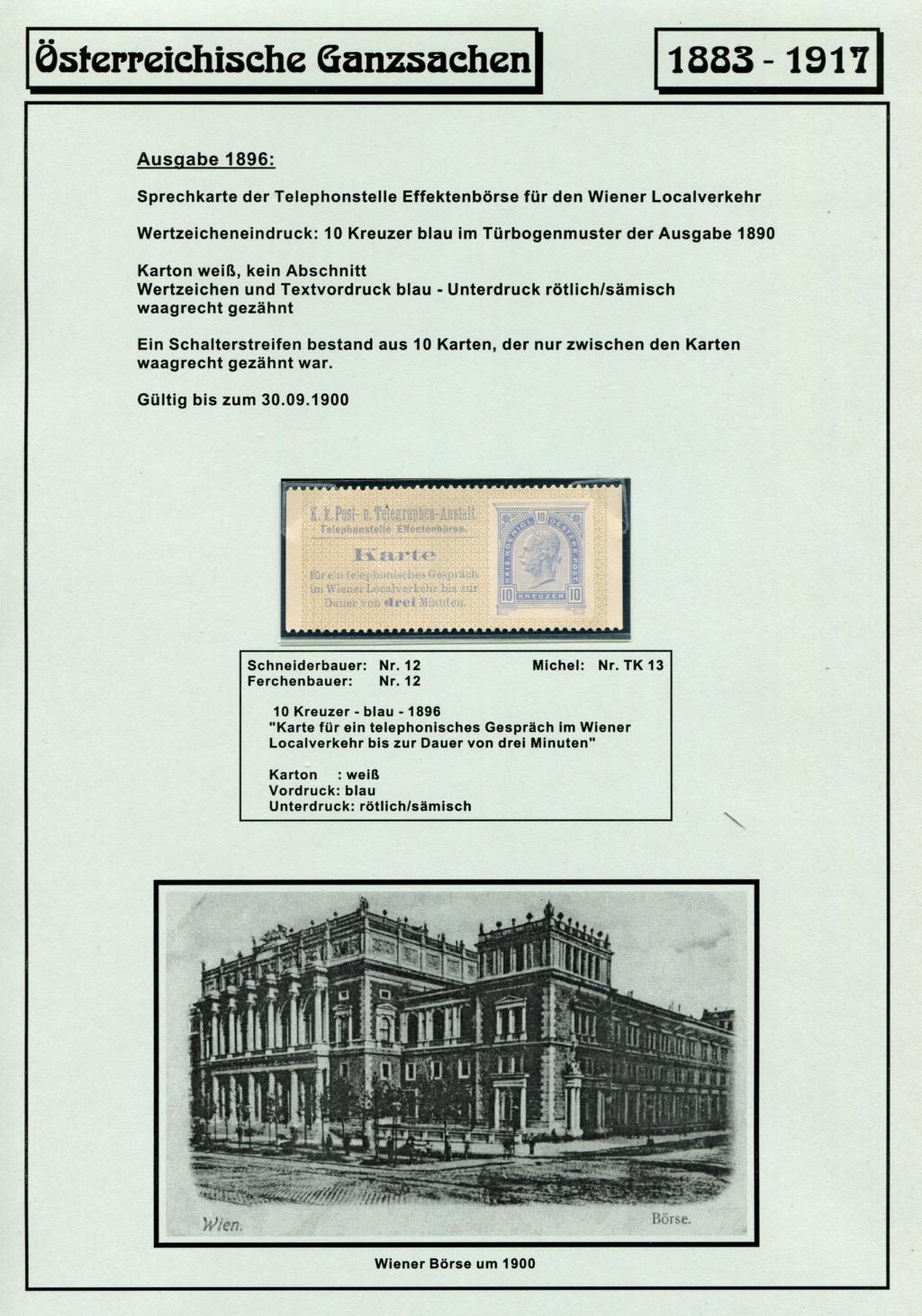 Österreichische Telephon-Sprechkarten - 1883 - 1917 Tel_ka29