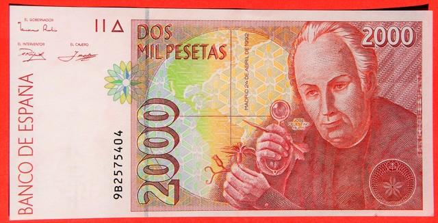 Impresiones en las series 2000 pesetas 1992 Celestino Mutis 32159210