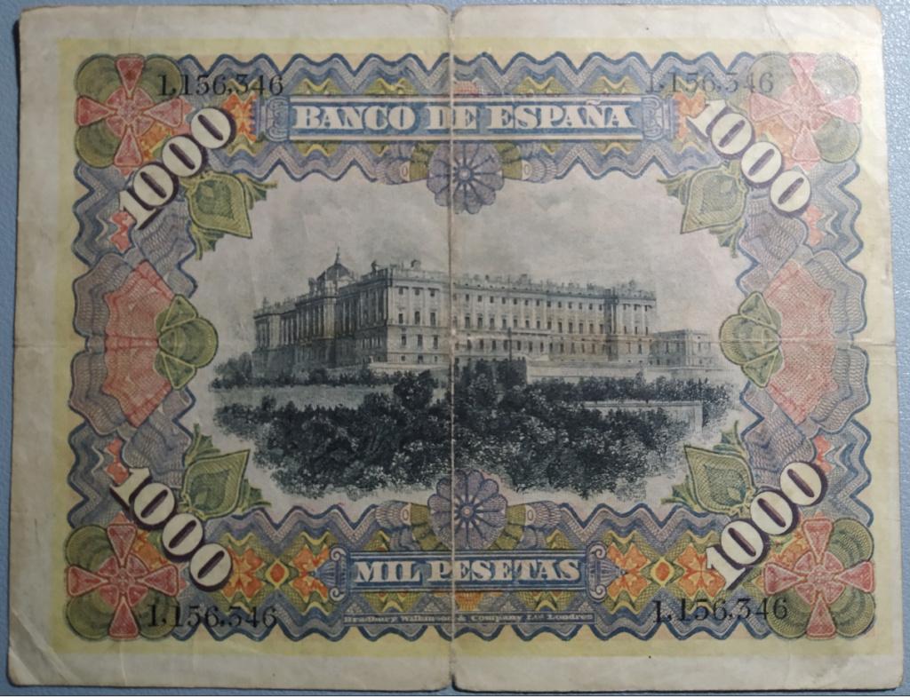 1000 Pesetas 1907 resellado Estado Español (Burgos) - Restaurado (Antes/después) Revers10