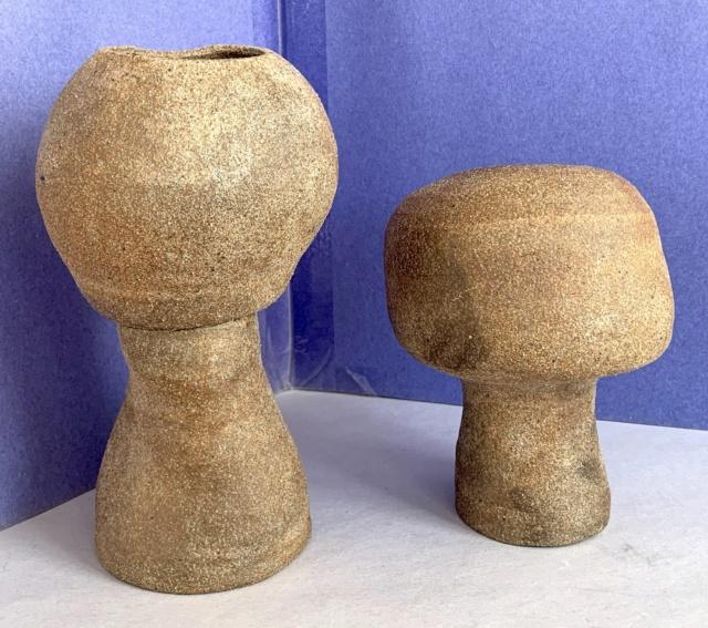 Identify 2 Modernist Brutalist Pottery Vases Unsigned Img_6610