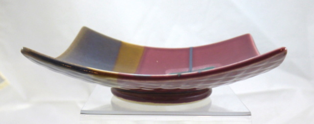 Modernist Square Dish with M or W in Rounded Triangle Redbro10