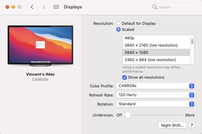 Intel HD 4600 + Big Sur avec écran Samsung C49RG90 Screen11